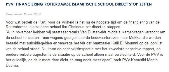 Screenshot webste PVV