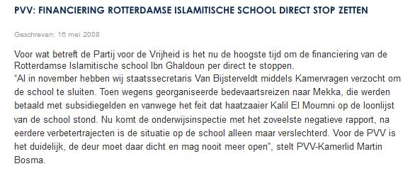Screenshot webste PVV