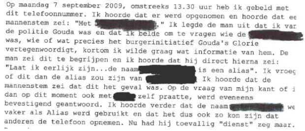 Deel van geanonimiseerd Proces-verbaal bevindingen over Peters van politie Hollands Midden
