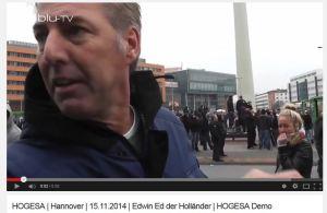 Wagensveld staat media te woord bij HoGeSa demonstratie 15 november 2014, Hannover