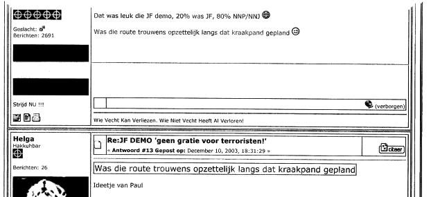 Gebruikers van internetforum Holland Hardcore evalueren actie JF