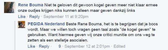 Reactie op Pegida Facebook, 11 september 2015