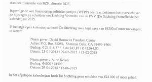Brief Wilders aan Ministerie overzicht inkomsten Stichting Vrienden van de PVV, juni 2016