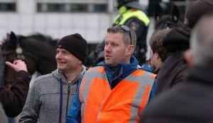 Robert Schaap (voorzitter Voorpost-Nederland) en Florens van der Kooi (actieleider Voorpost) op demonstratie Pegida, Amsterdam 6 februari 2016